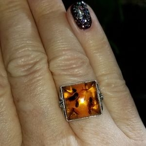 Jewelry - Amber and Sterling Ring